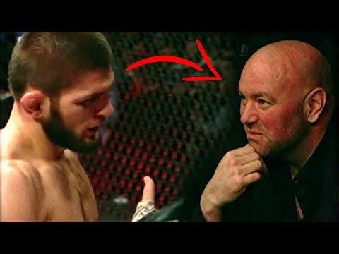 Footage of Khabib Nurmagomedov talking to Dana White while fighting Barboza