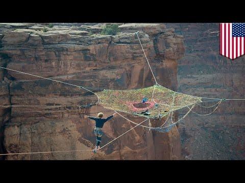 Extreme sports: Moab Monkeys slackline, base jump from hammock floating 400ft above the desert
