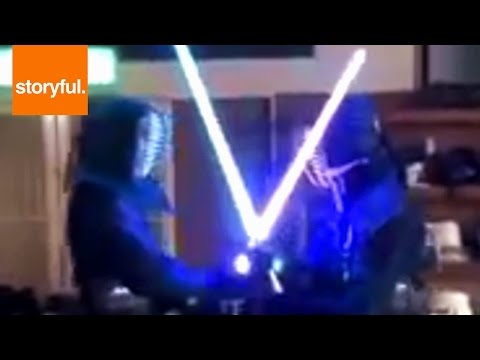 Jedi Have Epic Kendo Swordfight With Lightsabers (Storyful, Extreme Sports)