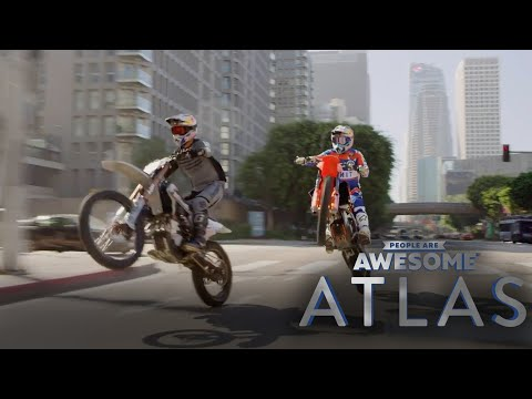 Robbie Maddison Dirtbikes Through Downtown LA & Jumps 1st Street Bridge | Atlas | People Are Awesome